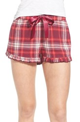 Junior Women's Bp. Undercover Plaid Flannel Sleep Shorts Purple Nectar Lawny Tartan