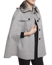 Burberry Wolseley Cape Jacket Trench W Detachable Fur Collar Pale Gray Pale Grey