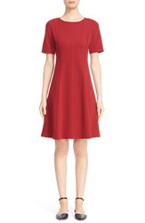 Lafayette 148 New York Petite Women's Fit And Flare Dress Ruby Red