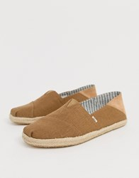 Toms Stamp Down Espadrilles In Mustard Canvas Yellow