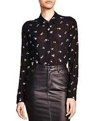 The Kooples Flower Embroidered Shirt Black