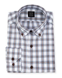 Ike Behar Plaid Dress Shirt Brown White