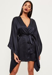 Missguided Navy Silky Kimono Wrap Shift Dress