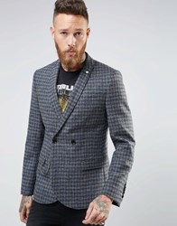 Noose And Monkey Woven In England Check Double Breasted Blazer In Skinny Fit Brown