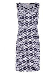 Sugarhill Boutique Geo Stamp Pleated Shift Dress Navy