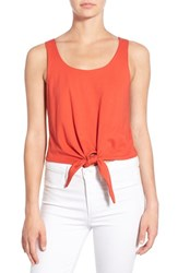 Women's Splendid Knot Front Cotton Crop Top Red