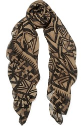 Donna Karan Printed Silk Chiffon Scarf Brown