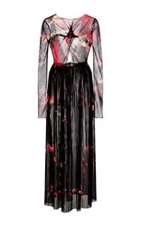 Thakoon Speckled Tie Dye Chiffon Long Sleeve Gown Black