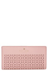 Kate Spade Women's New York 'Cedar Street Stacy' Perforated Leather Wallet Pink Pink Bonnet