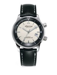 Alpina Sapphire Crystal Leather Strap Watch Silver