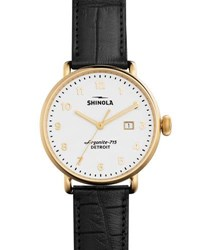Shinola 43Mm Canfield Alligator Strap Watch Black
