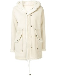 Mr And Mrs Italy Fur Trim Hooded Coat Neutrals