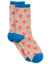 Hot Sox Large Polka Dot Crew Socks Hemp Heather