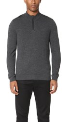 The Kooples Sport Leather Detail Half Zip Sweater Grey