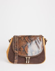 Urbancode Leather Saddle Cross Body Bag Brown Tan