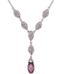 Kaleidoscope Purple Swarovski Crystal Y Necklace In Sterling Silver