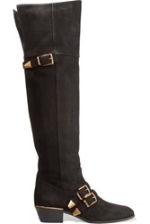 Chloe Susanna Textured Leather Over The Knee Boots Black