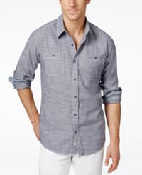 Weatherproof Long Sleeve Solid Chambray Woven Shirt Medium Blue