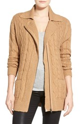 Petite Women's Caslon Cable Knit Zip Front Cardigan Heather Dark Camel