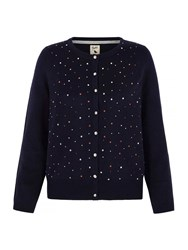 Yumi Metallic Cardigan With Embellishments Navy