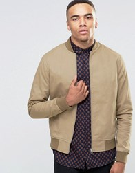 New Look Cotton Twill Bomber Jacket In Stone Stone