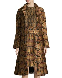 Etro Tapestry A Line Topper Coat Gold Gold Jacquard