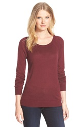 Nordstrom Scoop Neck Silk And Cashmere Pullover Burgundy London