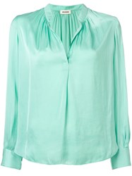 Zadig And Voltaire Tink Satin Blouse Green