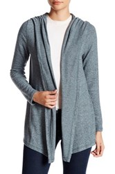 Harlowe And Graham Soft Knit Hooded Fleece Cardigan Petite Blue