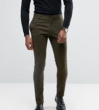 Religion Super Skinny Suit Trousers With Zip Detail Green