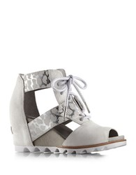 Sorel Joanie Suede Lace Up Sandal Wedges