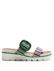 Missoni Striped Knit Slip On Wedge Sandals Green Stripe