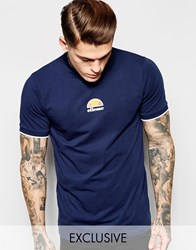 Ellesse T Shirt With Small Retro Logo Ribbed Sleeves Navy