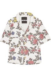 House Of Holland Floral Print Denim Shirt White