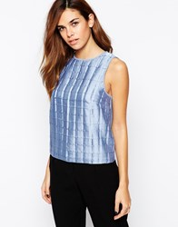 Warehouse Woven Pleat Shell Top Lightblue