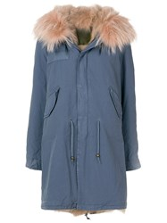 Mr And Mrs Italy Faux Fur Trim Parka Blue