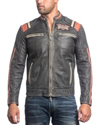 Affliction Men's Speed Shop Leather Moto Jacket Black Vintage Wash