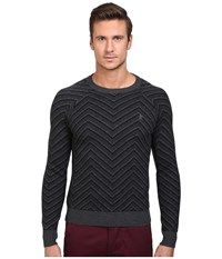 Original Penguin Raglan Textured Exploded Herringbone Crew Neck Sweater True Black Men's Sweater