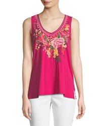 Johnny Was Adeline Sleeveless V Neck Tank Plus Size Mob Pink