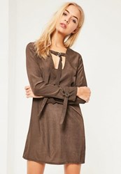 Missguided Khaki D Ring Neck Shift Dress