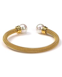 Majorica Gold Stainless Steel And White Simulated Pearl Bangle