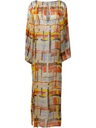Borbonese Abstract Print Maxi Dress Yellow And Orange
