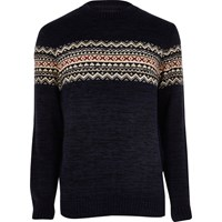 River Island Mensnavy Fairisle Knit Christmas Sweater
