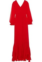 Mikael Aghal Woman Pleated Ruffled Chiffon Gown Red