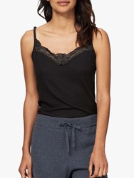 Brora Skinny Rib Lace Cami Top Black