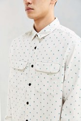 Urban Outfitters Uo Ditsy Cross Print Flannel Button Down Shirt White