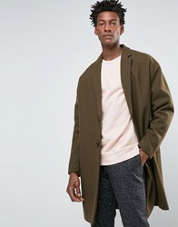 Asos Wool Mix Overcoat With Drop Shoulder In Army Green Army Green