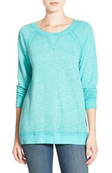 Petite Women's Caslon Burnout Sweatshirt Teal Ripple