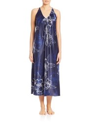 Oscar De La Renta Sleepwear Printed Satin Signature Long Gown Blue Sketch Floral