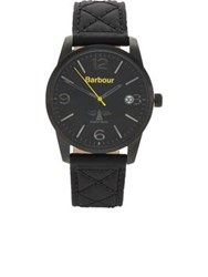 Barbour Alanby Stitched Leather Strap Watch Black